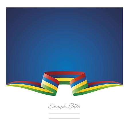 Abstract background Mauritius flag ribbon Illustration