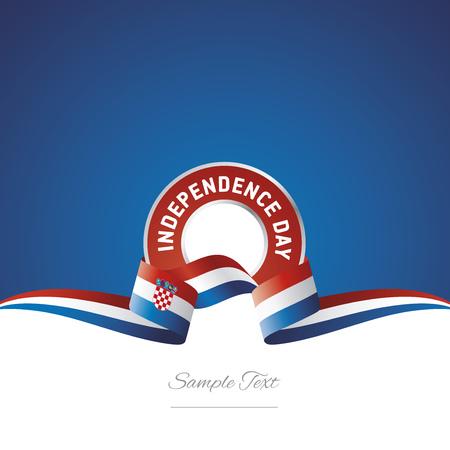 Croatia Independence Day ribbon logo icon, vector illustration. Illustration