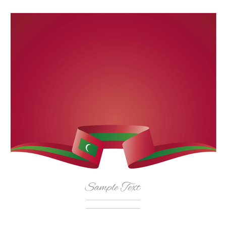 Abstract background Maldives flag ribbon