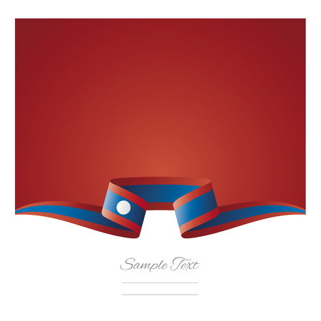 Abstract background Laos flag ribbon Illustration