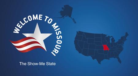 jefferson: Welcome to Missouri USA map banner logo icon
