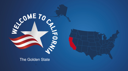 Welcome to California USA map banner logo icon