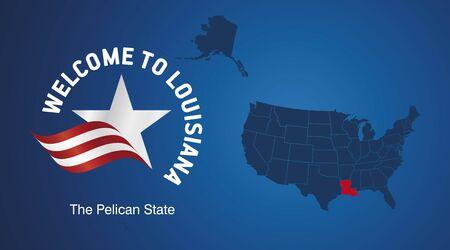 Welcome to Louisiana USA map banner logo icon