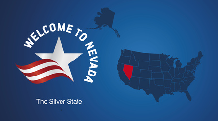 Welcome to Nevada USA map banner logo icon
