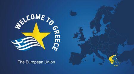 Welcome to Greece EU map banner logo icon