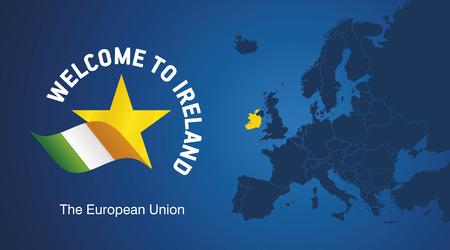 Willkommen in Irland EU map banner logo icon Standard-Bild - 85573459