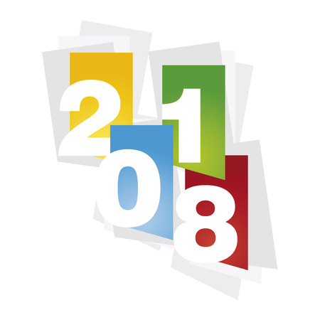 numbers abstract: New Year 2018 color abstract sheet white background Illustration