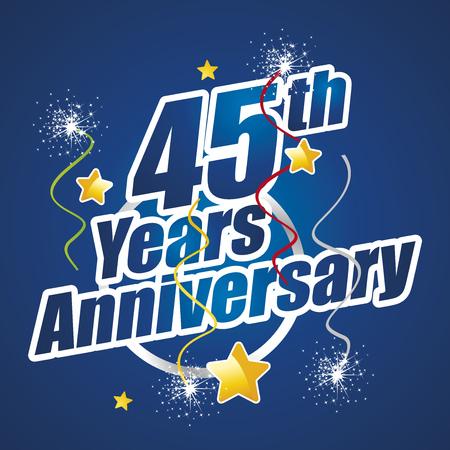 45th: 45th Years Anniversary celebrating spark firework blue logo Illustration