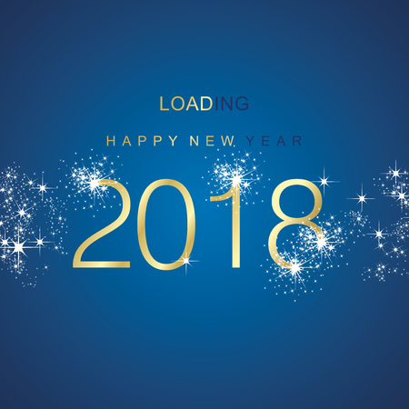New Year 2018 loading spark firework gold blue vector
