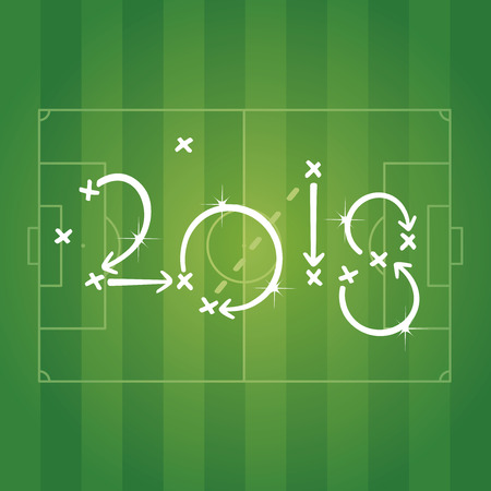 Soccer strategy for goal 2018 green background Vectores