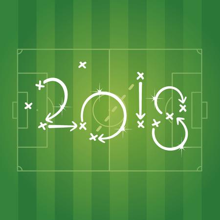 Voetbalstrategie voor doel 2018 groene achtergrond Vector Illustratie