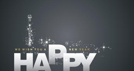 Życzymy szczęśliwego Nowego Roku 2018 srebrnego czarnego tła