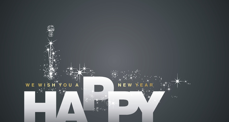 We wish you a Happy New Year 2018 silver black background