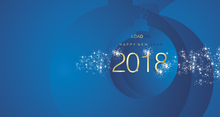 Happy New Year 2018 firework gold blue abstract ball landscape background