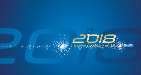 Happy New Year 2018 champagne firework blue abstract background Çizim