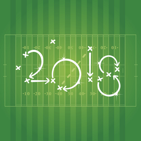 business pitch: 2018 American Football strategy goal white green background vector Illustration