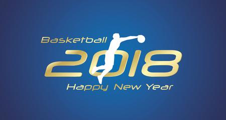 Basketball jump 2018 Happy New Year gold logo icon blue background  イラスト・ベクター素材