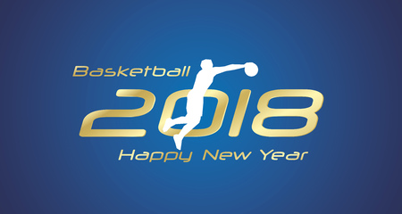 Basketball jump 2018 Happy New Year gold logo icon blue background Vettoriali