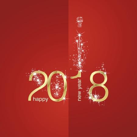 2018 Gold New Year Feuerwerk rote Abbildung