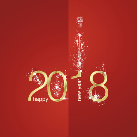 2018 Gold New Year firework red illustration Illustration