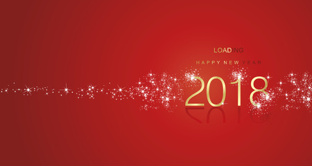 New Year 2017 greetings loading spark firework gold white red color