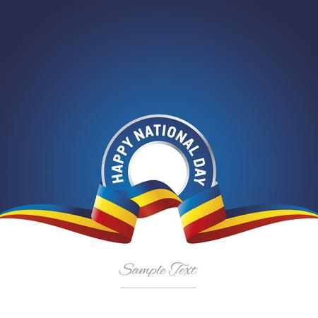 Romania National Day ribbon logo icon Illustration