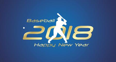 Baseball strike 2018 Happy New Year gold logo icon blue background.