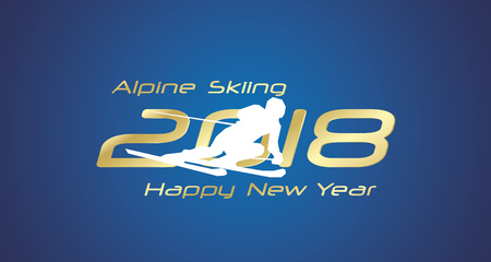 Alpine Skiing 2018 Happy New Year gold logo icon blue background.