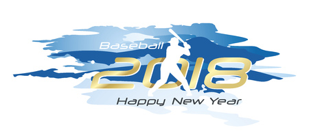 Baseball 2018 Happy New Year logo icon watercolor blue white background Illustration