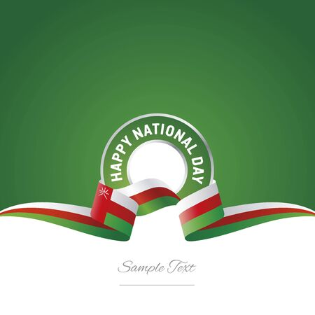National Day Oman flag ribbon color label icon. Illustration