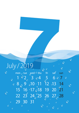 2019 Calendar month July water blue background