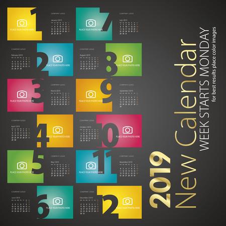 Calendario de escritorio 2019 la semana comienza el lunes fondo negro Ilustración de vector