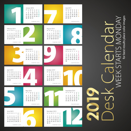 2019 New Desk Calendar monthly numbers landscape background