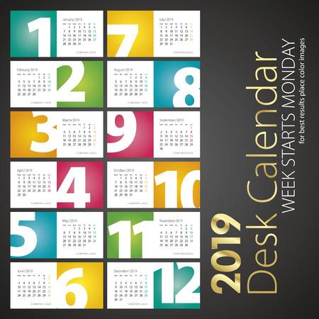 2019 New Desk Calendar Monatszahlen Landschaftshintergrund Vektorgrafik