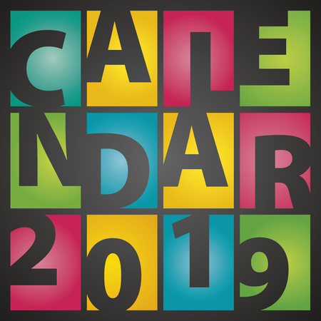 Calendar 2019 rectangle color letters black background