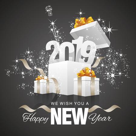 Happy New Year 2019 firework gift box black background Illustration