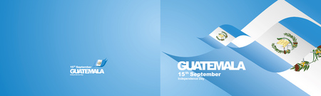 Independence Day Guatemala flag ribbon two fold landscape background