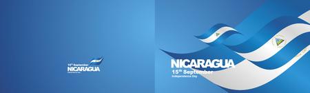 Independence Day Nicaragua flag ribbon two fold landscape background