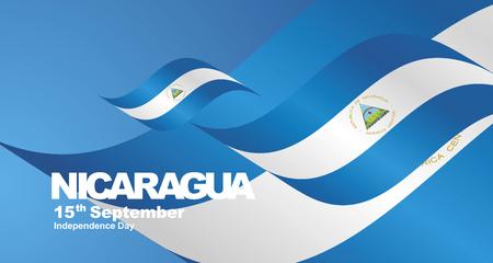 Nicaragua Independence Day flag ribbon landscape background