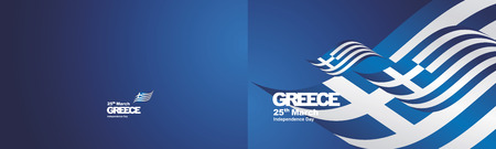 Independence Day Greece flag ribbon two fold landscape background Illustration