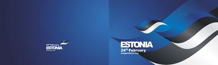 Independence Day Estonia flag ribbon two fold landscape background