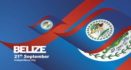 Belize Independence Day flag ribbon landscape background