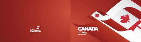 Independence Day Canada flag ribbon two fold landscape background