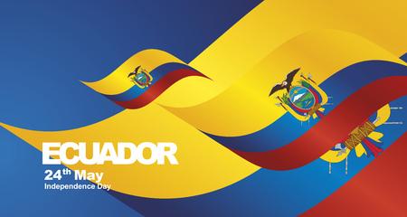 Ecuador Independence Day flag ribbon landscape background
