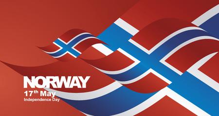 Independence Day Norway flag ribbon landscape background Illustration