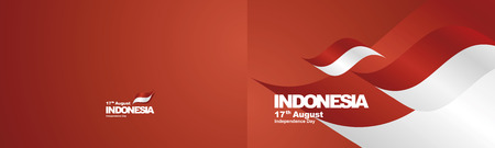 Independence Day Indonesia flag ribbon two fold landscape background Illustration
