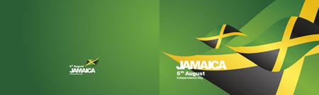 Independence Day Jamaica flag ribbon two fold landscape background Vetores