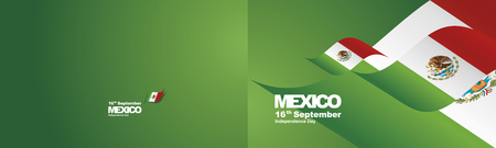 Independence Day Mexico flag ribbon two fold landscape background