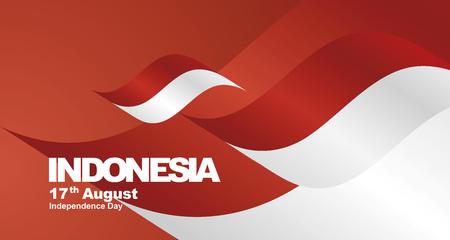 Indonesia Independence Day flag ribbon landscape background