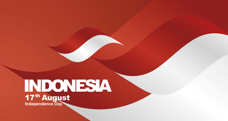 Indonesia Independence Day flag ribbon landscape background